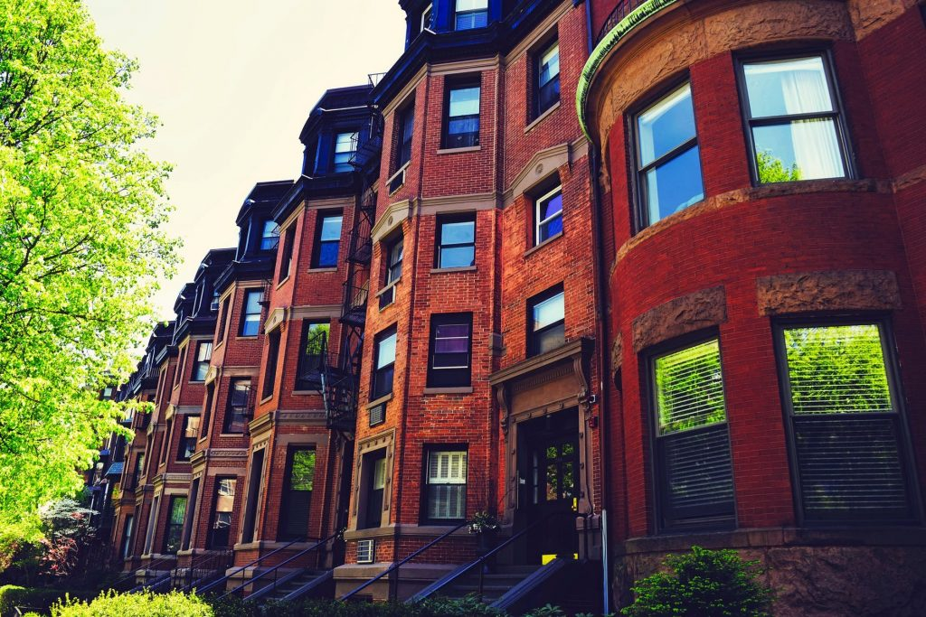 Brownstone houses in Brooklyn.