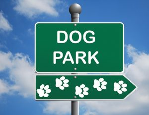A green sign for a dog park.