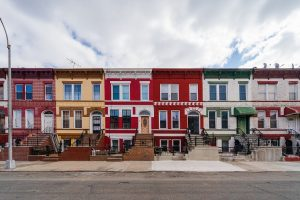 Colourful row houses in Crown Heights