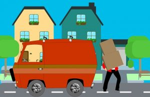 Moving truck, moving boxes, courier