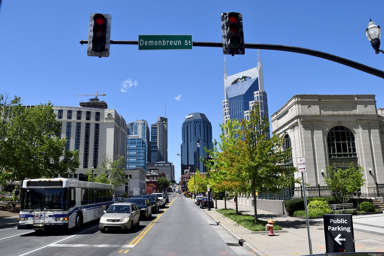 A busy street in Nashville, Tennessee.