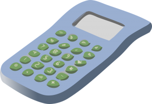 a cartoon drawing of a calculator