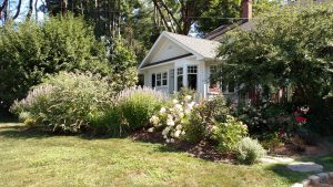 A beautiful garden surrounding a house