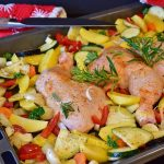 Chicken on a pan with different veggies.