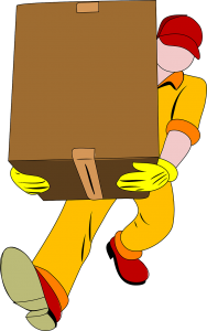 A mover carrying a cardboard box.