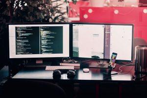 Computer screens.