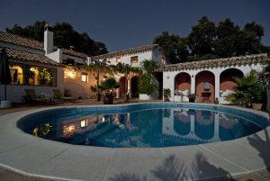 Swimming pool behind a villa.