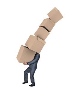 Man carrying moving boxes.