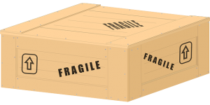 Box with fragile sign on.