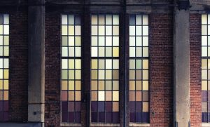 Big windows of a warehouse.