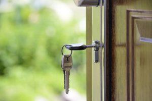A key in house door