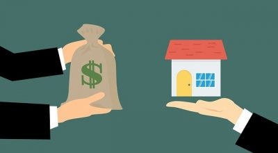An illustration f two men exchanging a bag of money and a model house.