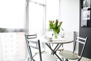 A white dining room.