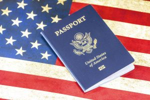 The American Passport on the USA flag as a valid document to show to your landlord before renting an apartment in Hong Kong.