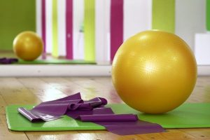 Colorful gym with some gym equipment.