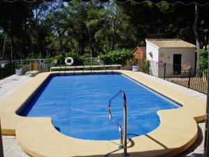 A pool in the backyard.