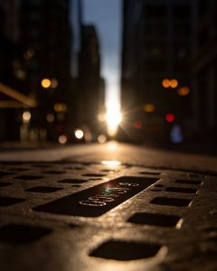 A sewer in the city.