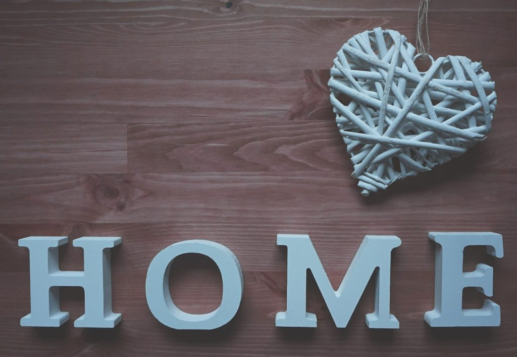 Thw word home made from wooden letters.