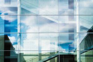 A big glass building.