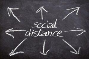 Social distancing chalk sing