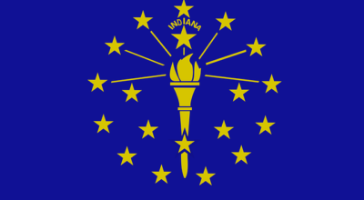 Most affordable cities in Indiana on a flag.