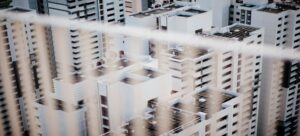 View from the rooftop at high-rise apartment buildings.