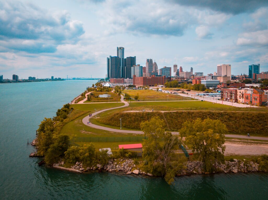 Detroit city panorama