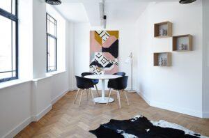 Modern apartment dining room.