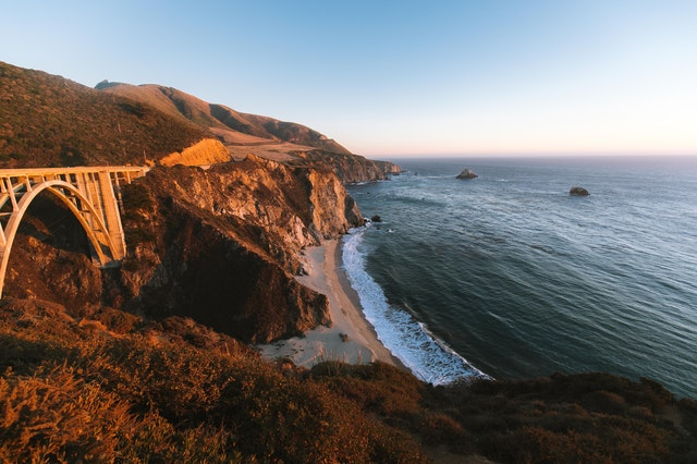The Pacific Coast Highway in the mountains with a view of the Pacific Ocean