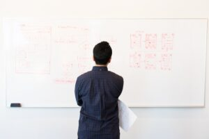 a man staring at the white board